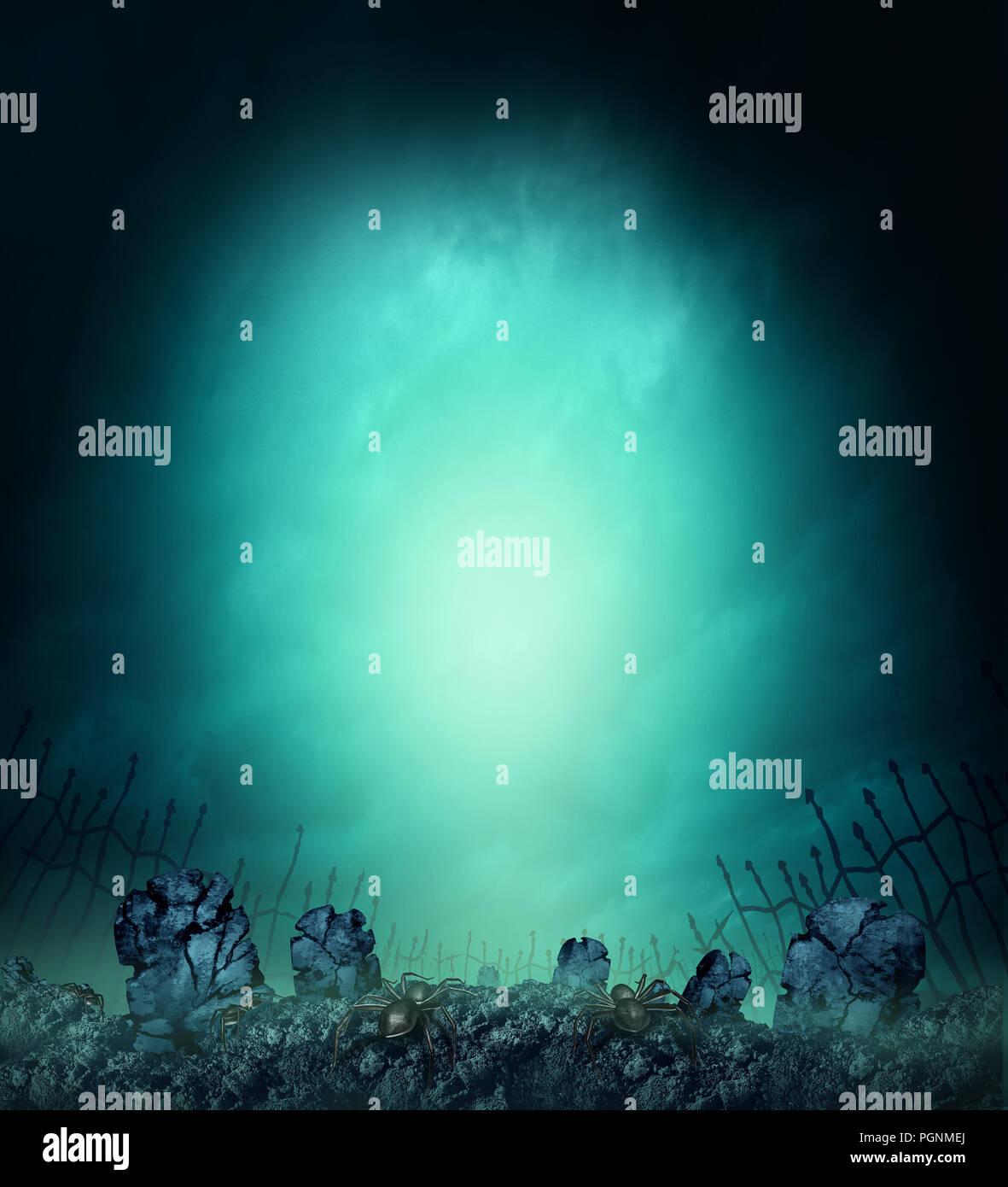 Cimetière fantasmagorique effrayant avec des pierres tombales ou pierre tombale dans le brouillard comme une conception de l'affiche halloween creepy avec copie espace avec 3D illustration éléments. Photo Stock