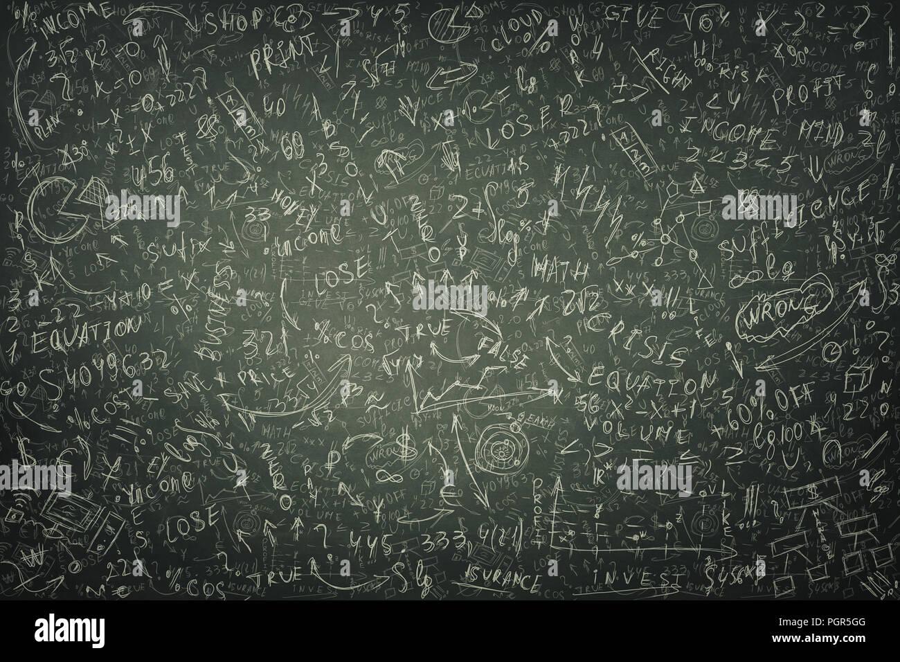 Grand tableau noir la craie de textures dessinées avec calcul mathématiques difficiles, formule économique et équations arrière-plan. Penser à des idées de projet et b Photo Stock