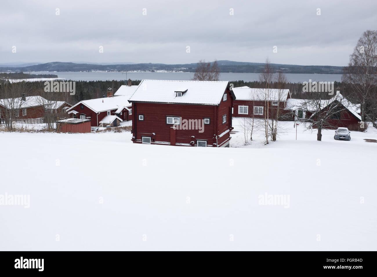Schneelandschaft Schweden Banque D'Images