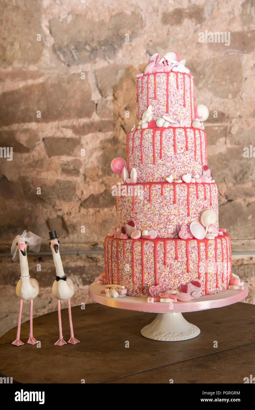Nouveauté rose gâteau de mariage à plusieurs niveaux Photo Stock
