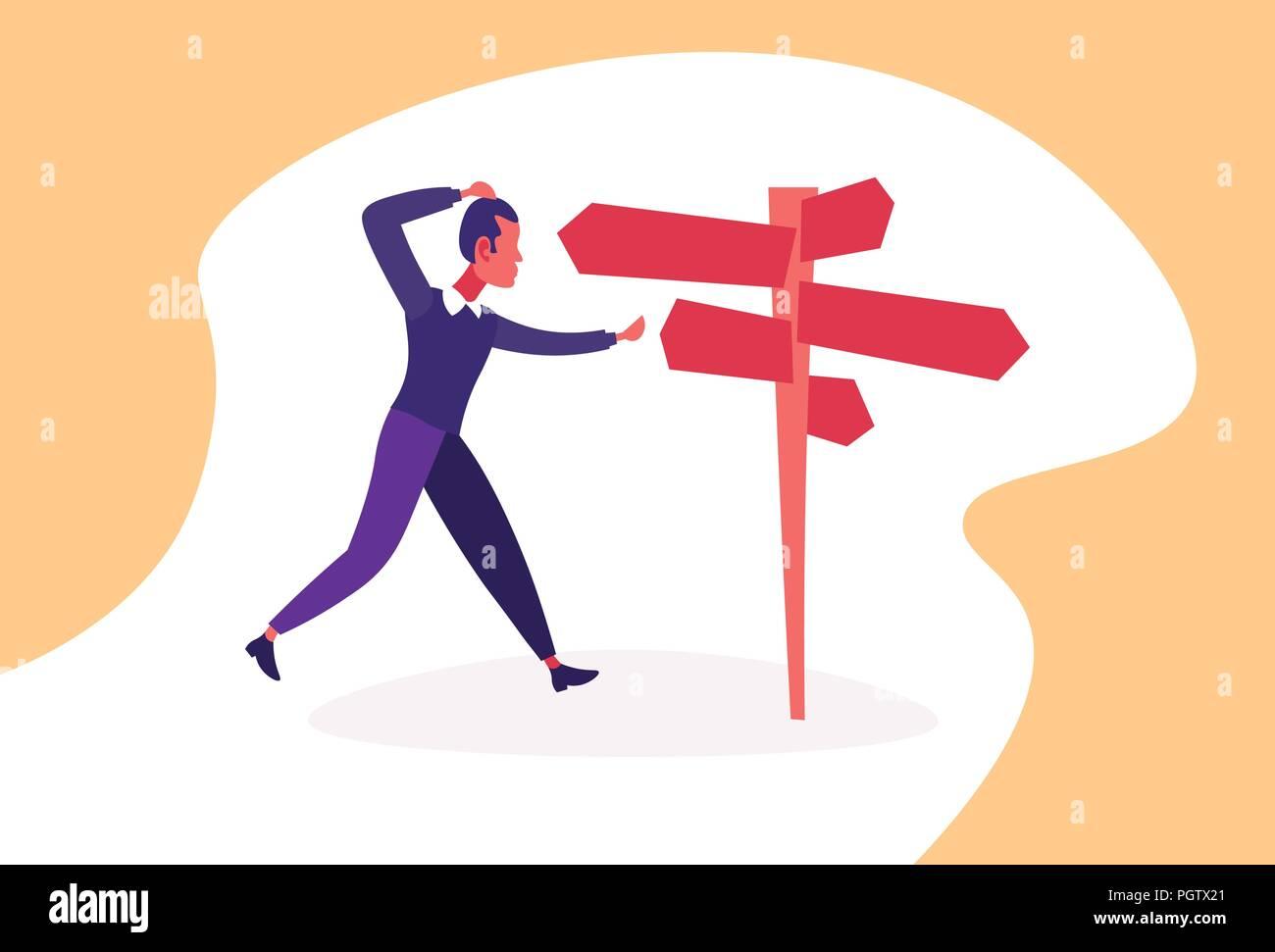Confus businessman standing road sign choisissez orientation d'affaires façon pancarte horizontale flèche personnage de télévision Photo Stock