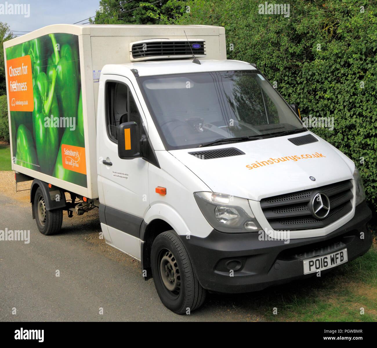 Supermarché Sainsbury's, la diffusion en ligne, véhicule, van, England, UK, Sainsburys Photo Stock