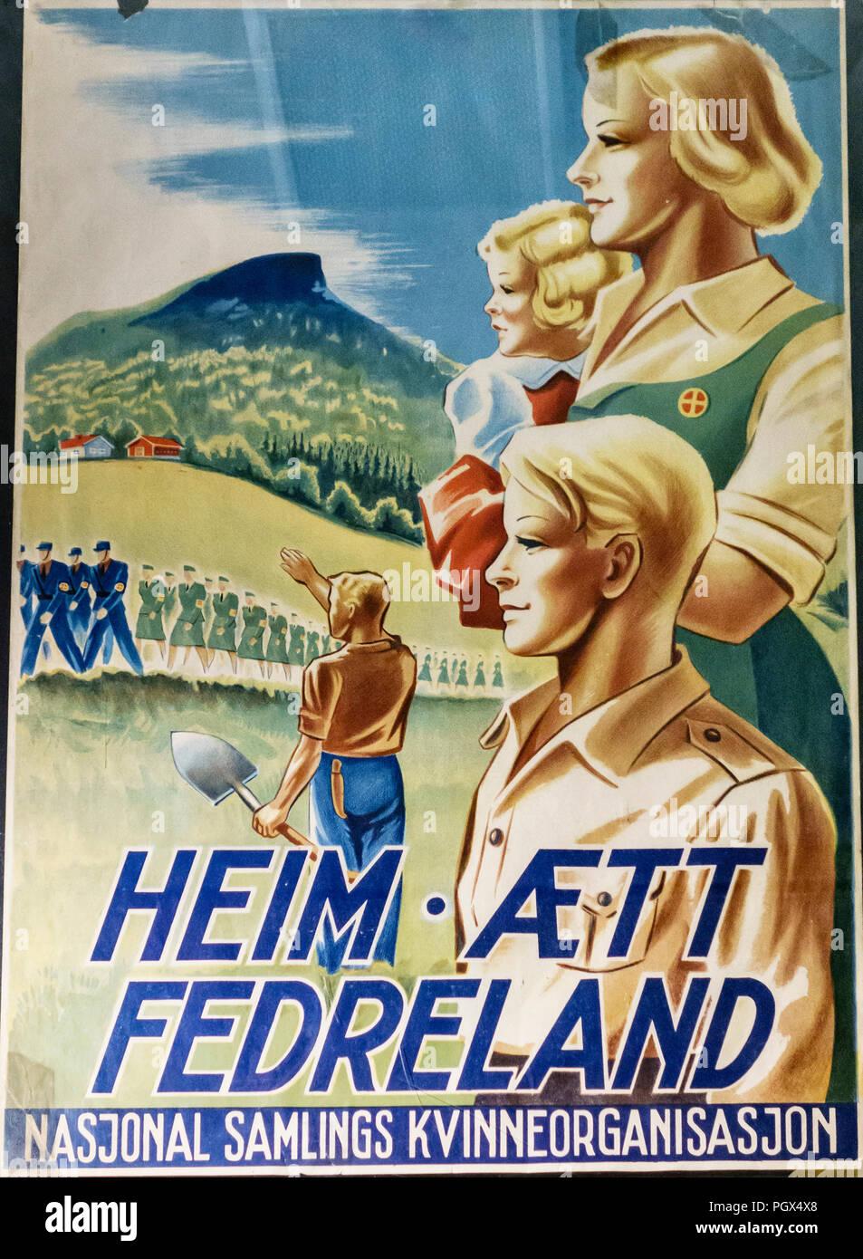Affiche de guerre nazi-fasciste de la Norvège occupée. Le slogan indique 'patrie', et d'accueil mis en place par l'Organisation des femmes de l'Assemblée nationale Photo Stock