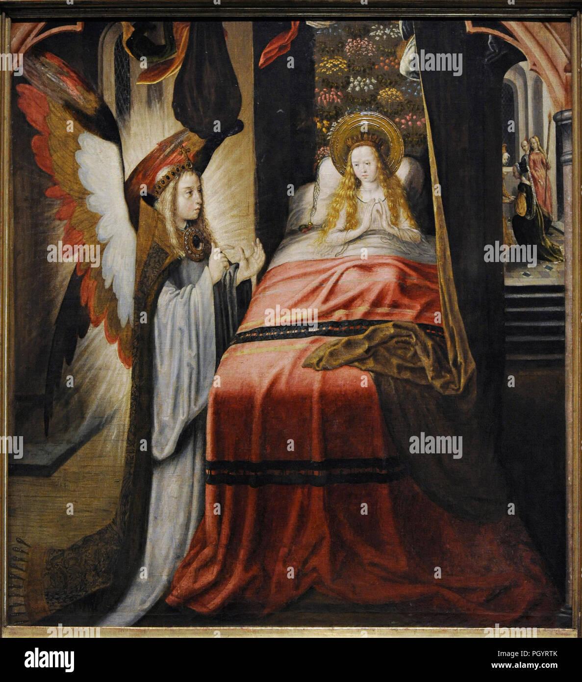 Maître de la légende de Sainte Ursule et de l'atelier (actif à Cologne, ca.1480/1490-ca.1510/1515). Apparition de l'ange, ca.1492-1496. Wallraf-Richart Museum. Cologne. L'Allemagne. Photo Stock