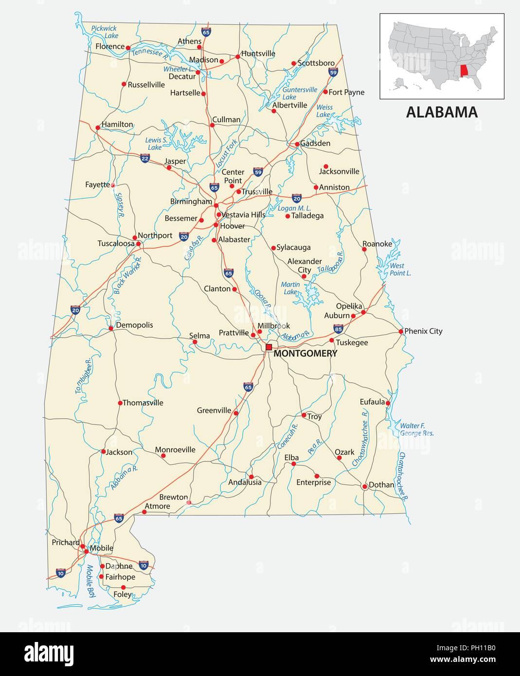 Carte routière de l'État américain de l'Alabama nous . Photo Stock
