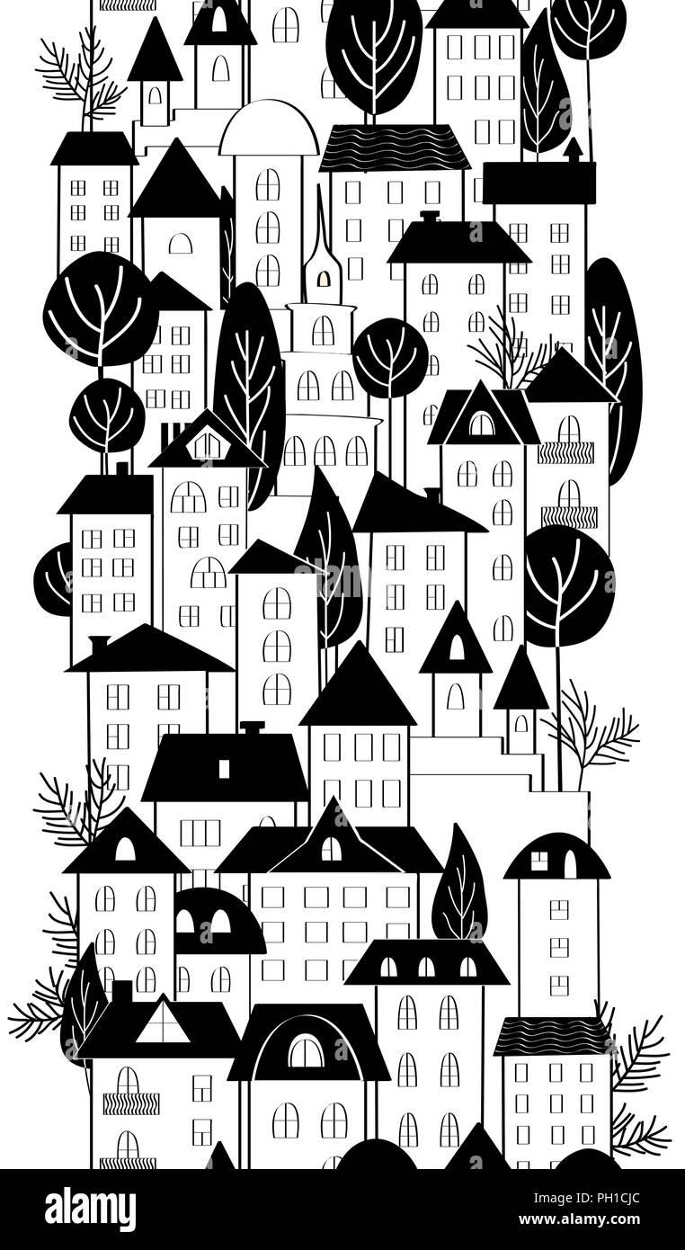 Caricature dessin à la main de maisons de ville et arbres frontière perméable noir et blanc vector hand drawn illustration