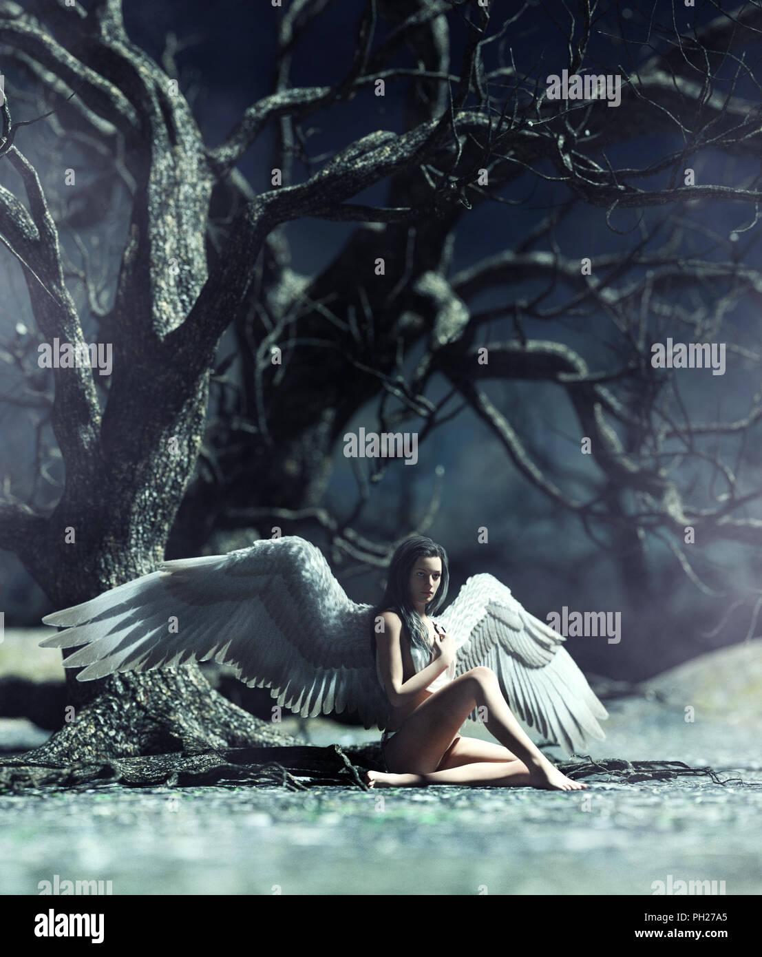 Un ange dans la forêt mystique,3d illustration pour l'illustration de livres ou de couverture de livre Banque D'Images