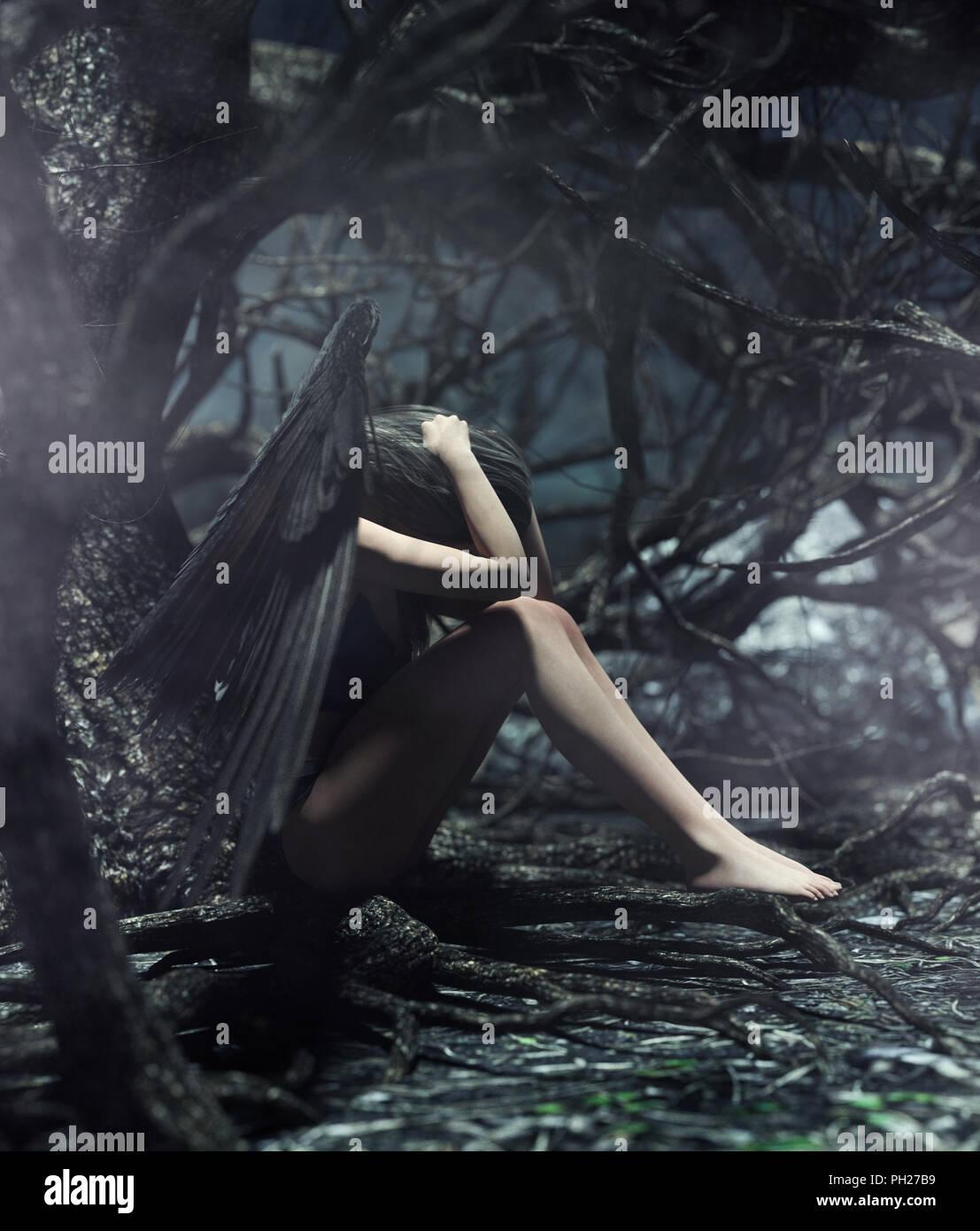 Un ange dans la forêt mystique,3d illustration pour l'illustration de livres ou de couverture de livre Photo Stock
