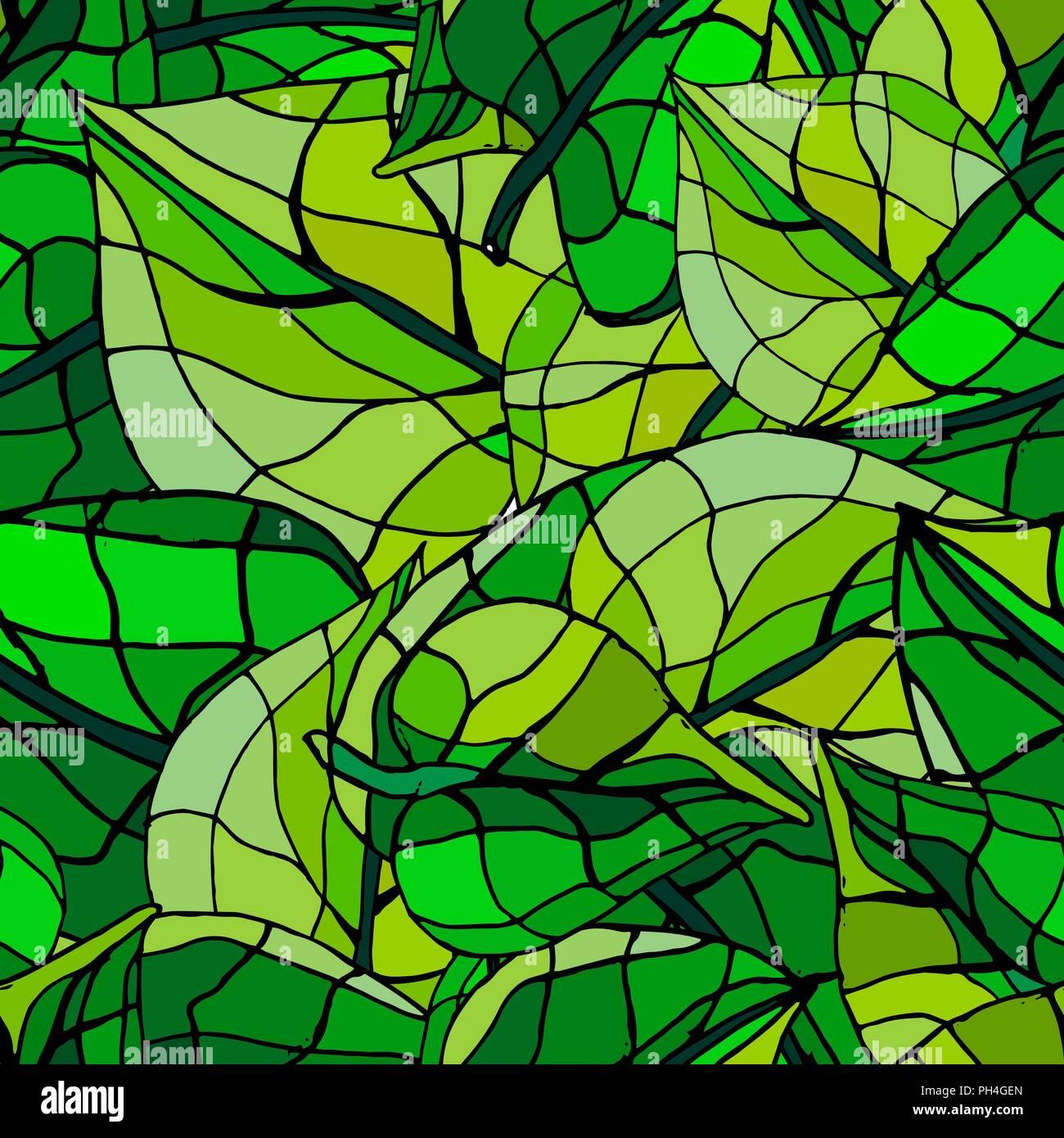 Feuilles vert citrouille modèle transparent. Illustration de Vecteur