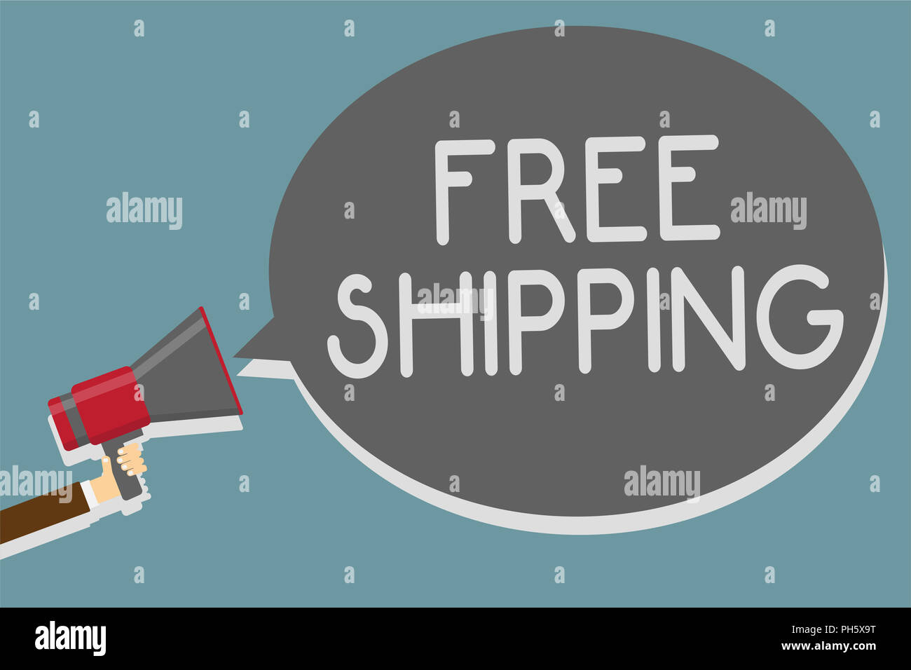 L'écriture note indiquant la livraison gratuite. Photo d'affaires mettant en fret aérien Connaissement Envoi Envoi Payload Cartage Man pointing loudspea Photo Stock