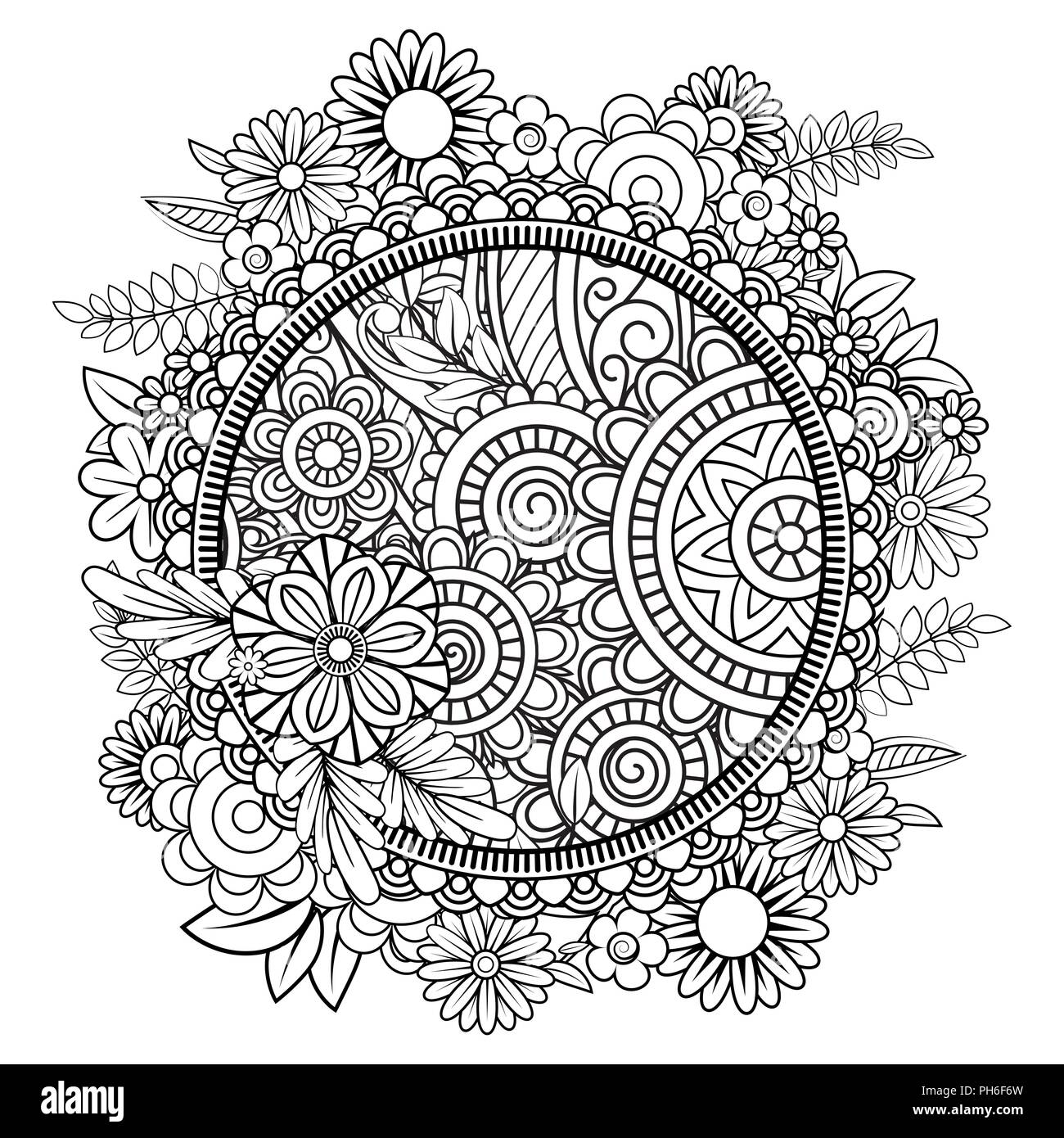 Des Profils Coloriage Avec Motif Fleurs Doodle Noir Et