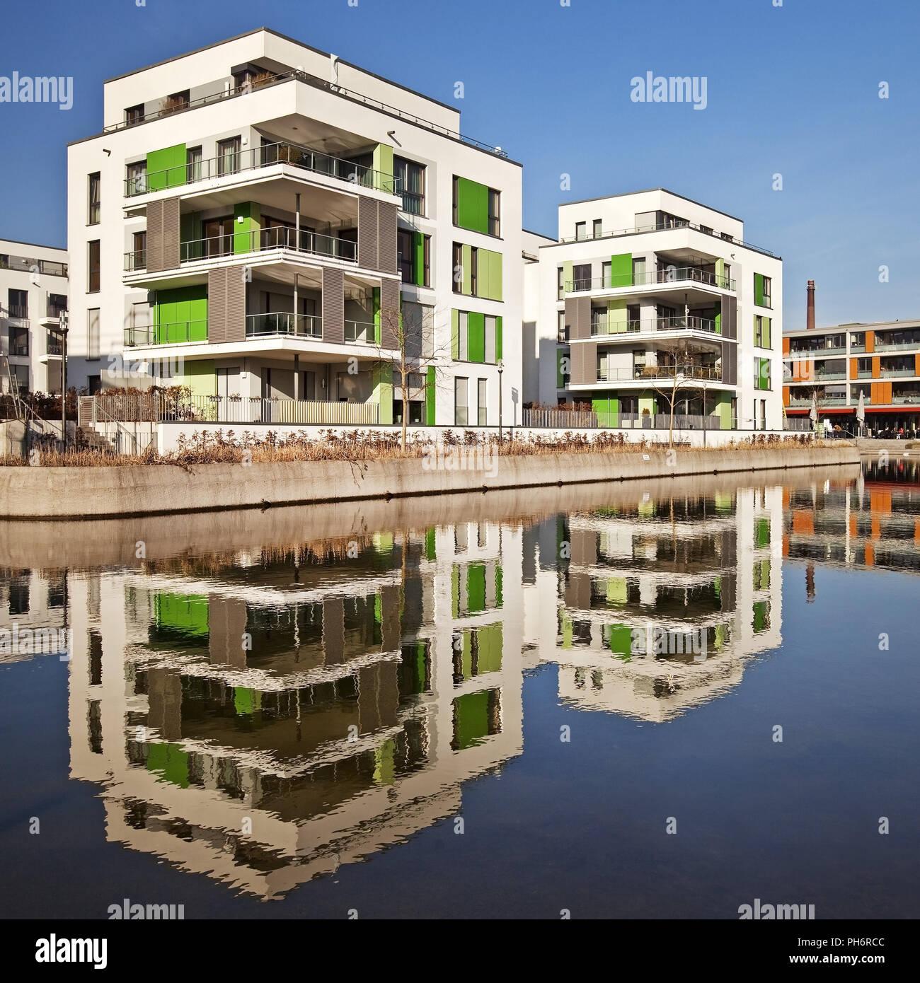 """Bâtiments modernes de quartier de """"Gruene Mitte"""", Essen Photo Stock"""
