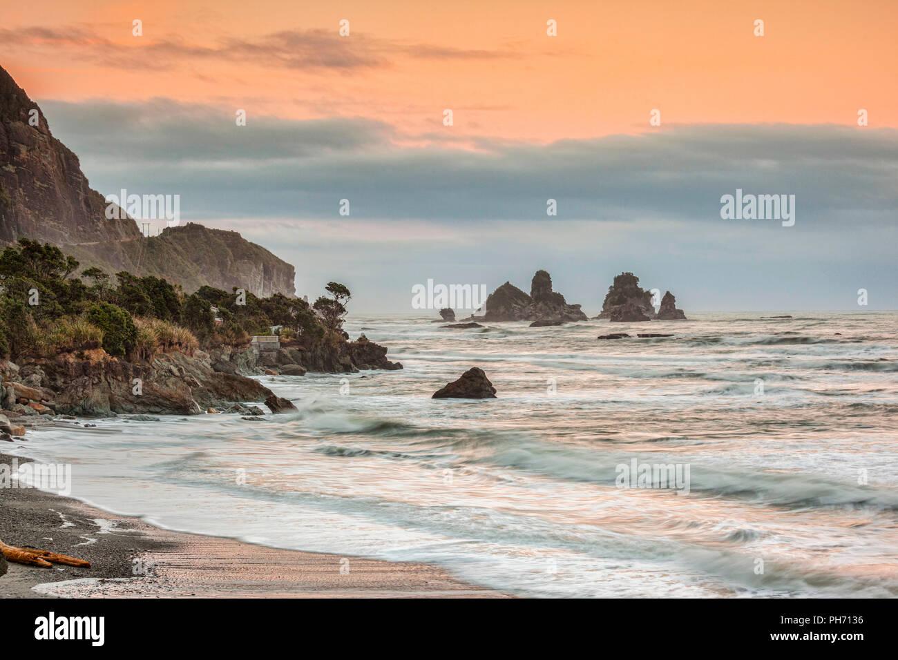 Motukiekie, sur la côte ouest de l'île du Sud, Nouvelle-Zélande Photo Stock