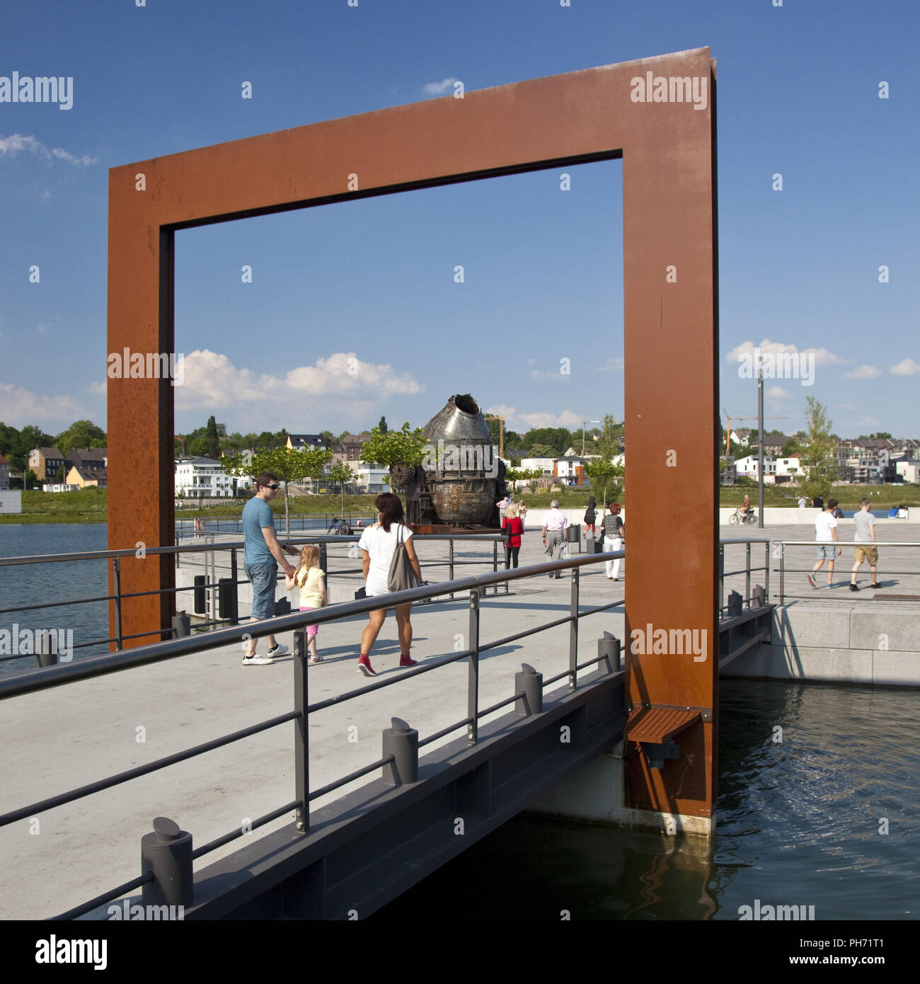 L'île de la culture, Phoenix Lake, Dortmund, Allemagne. Photo Stock