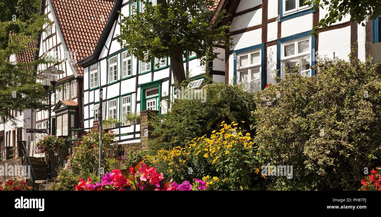 Vlothoer Brink, maisons à colombage, Vlotho Photo Stock