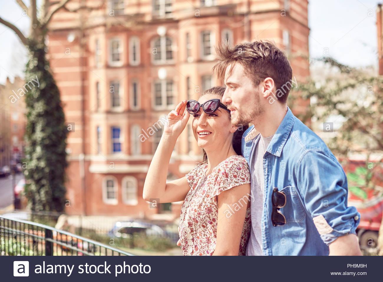 Teenage couple at park Photo Stock