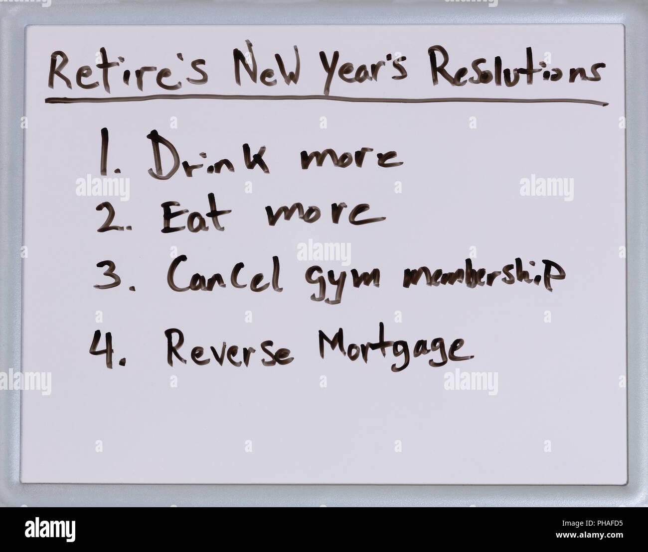 Résolutions du Nouvel An pour les retraités Photo Stock