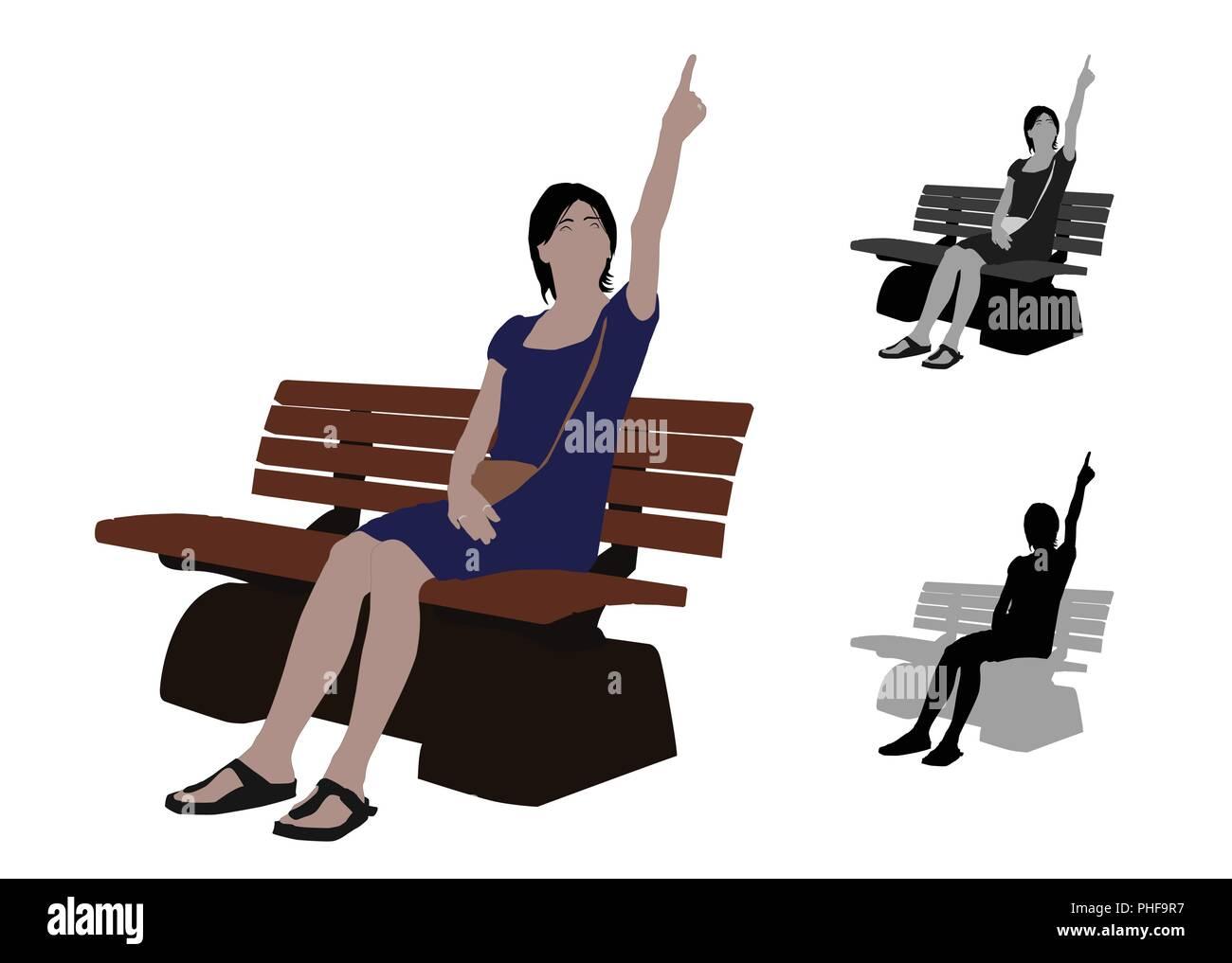 Télévision réaliste illustration couleur d'une femme pointant vers le haut, en position assise d'un banc dans le parc Photo Stock