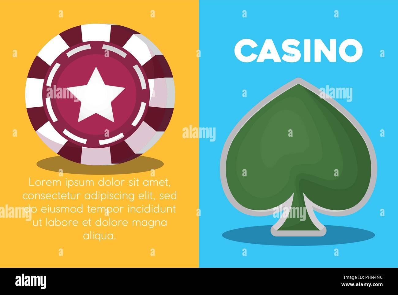 L'infographie du concept de casino avec le poker chip et spade icône sur fond coloré, design coloré. vector illustration Photo Stock