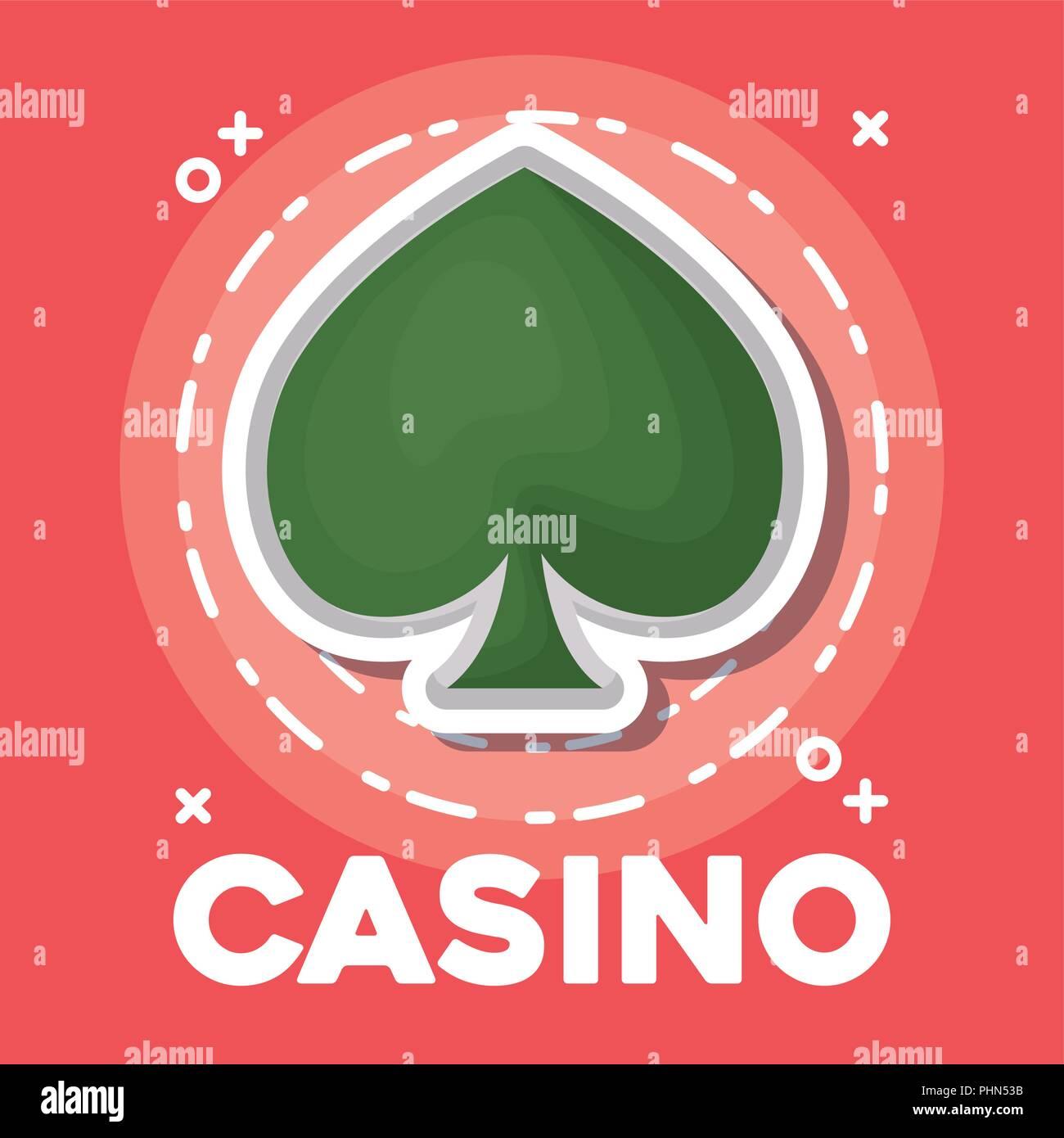 Design de casino avec spade icône sur fond rouge, design coloré. vector illustration Photo Stock