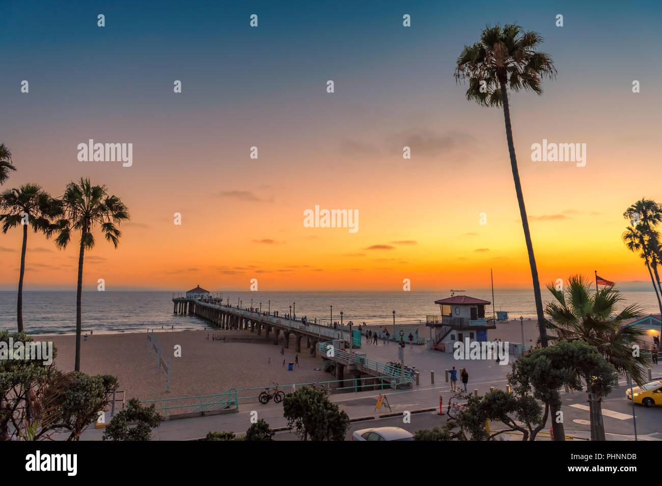 Californie plage au coucher du soleil Photo Stock