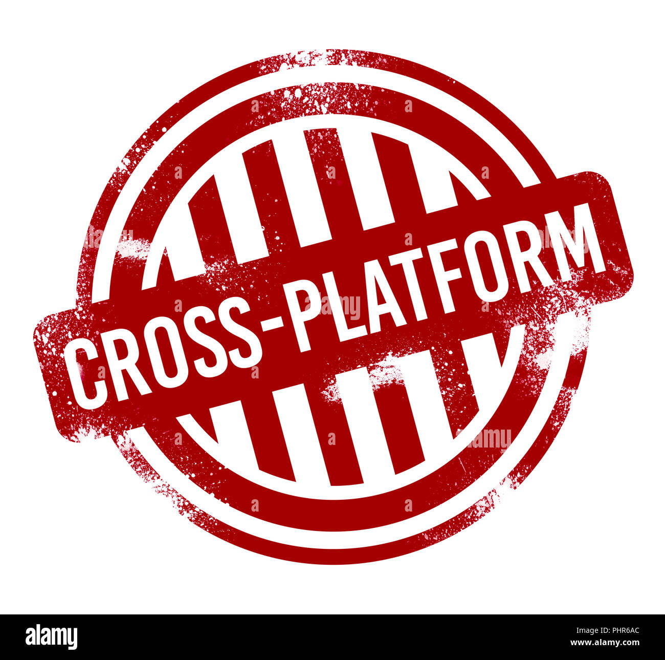Cross-platform - grunge stamp, bouton rouge Photo Stock