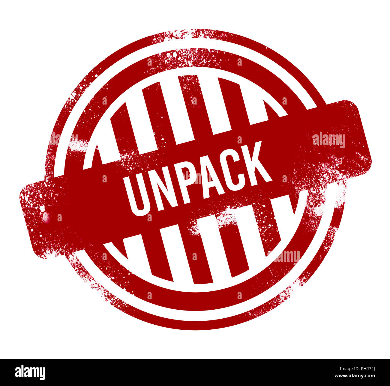 Unpack - grunge stamp, bouton rouge Photo Stock