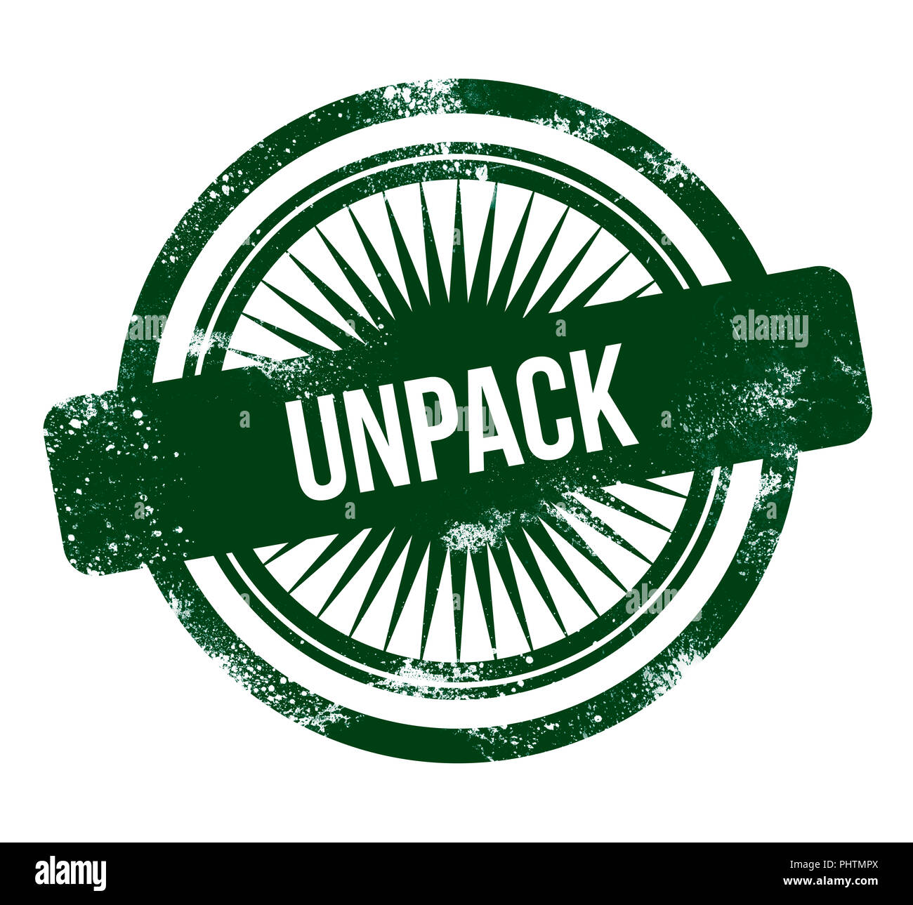 Unpack - green grunge stamp Photo Stock