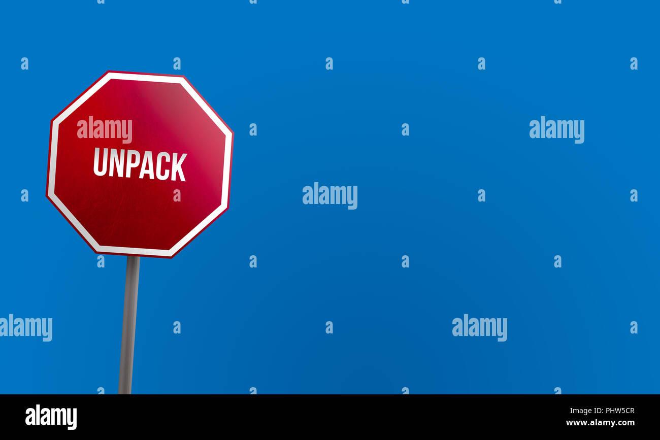 Unpack - panneau rouge avec ciel bleu Photo Stock