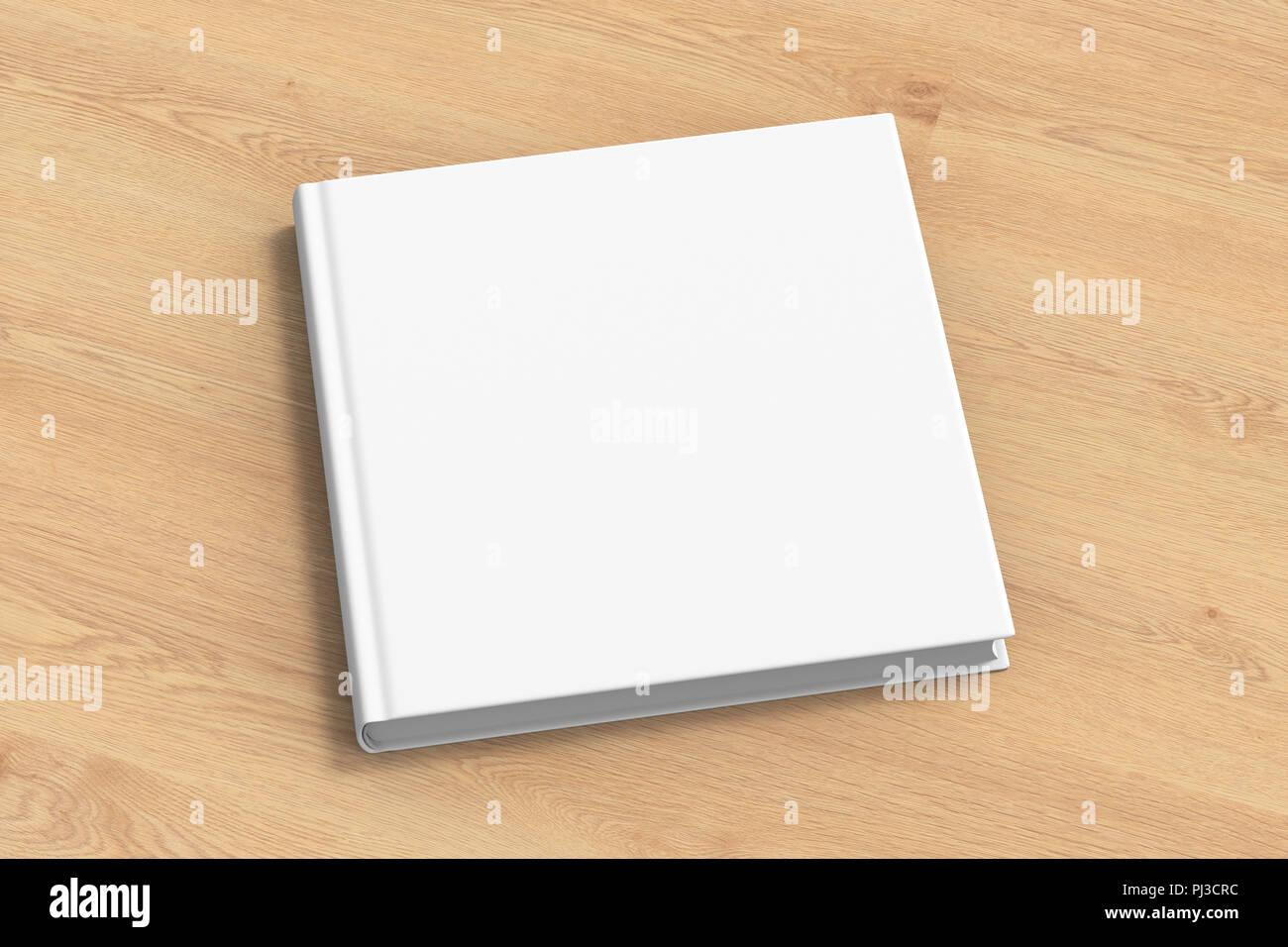 Maquette De Couverture De Livre Blanc Carre Debout Sur Fond