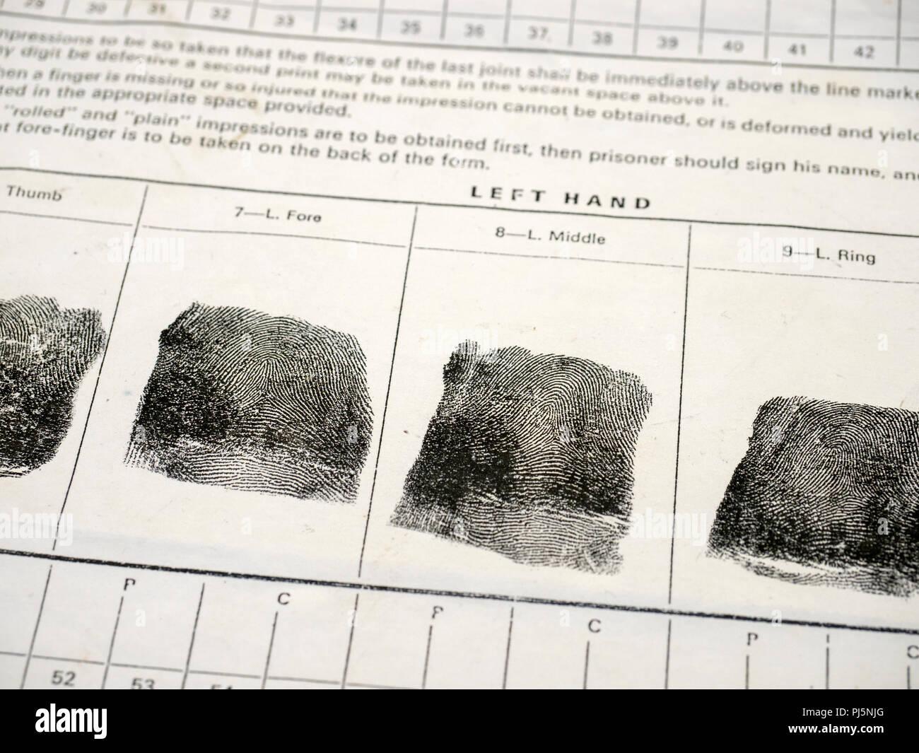 Des empreintes digitales sur une ancienne forme d'empreintes digitales comme utilisé historiquement par le Royaume-Uni Service pénitentiaire. Photo Stock
