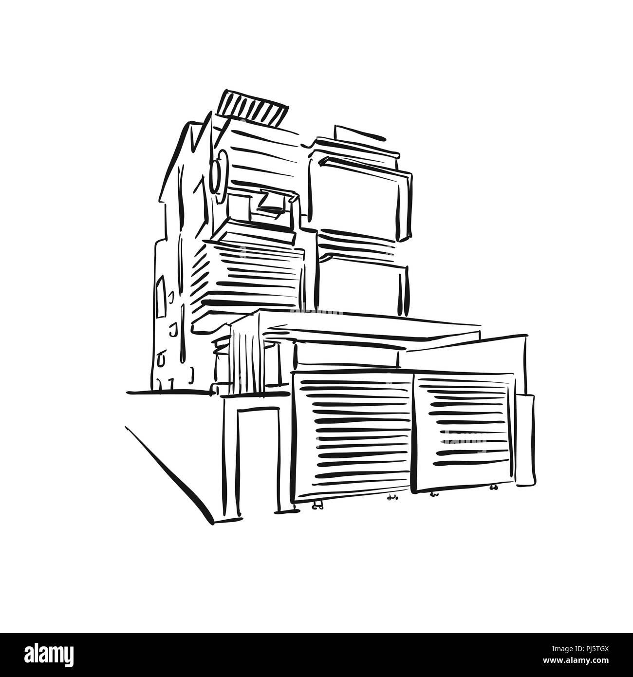 Maison moderne. dessin croquis vecteur dessiné à la main ...