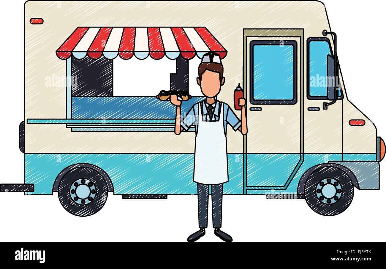 Restaurant Foodtruck scribble isolés Illustration de Vecteur