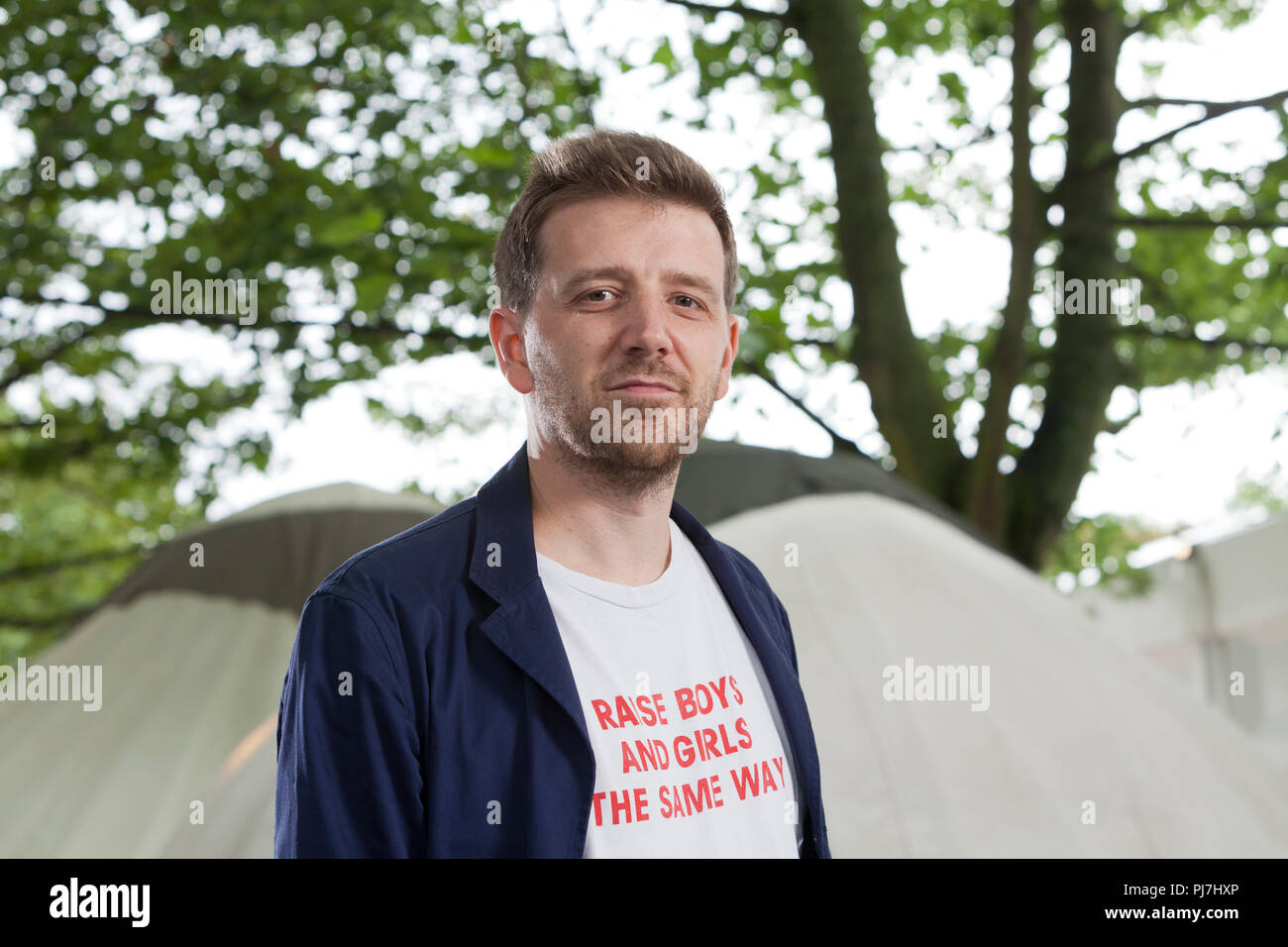 Edinburgh, Royaume-Uni. 14 août, 2018. Alex Barbe, l'ancien professeur et auteur de Natural Born Les apprenants, à l'Edinburgh International Book Festival. Edimbourg, Ecosse. Photo par Gary Doak / Alamy Live News Banque D'Images