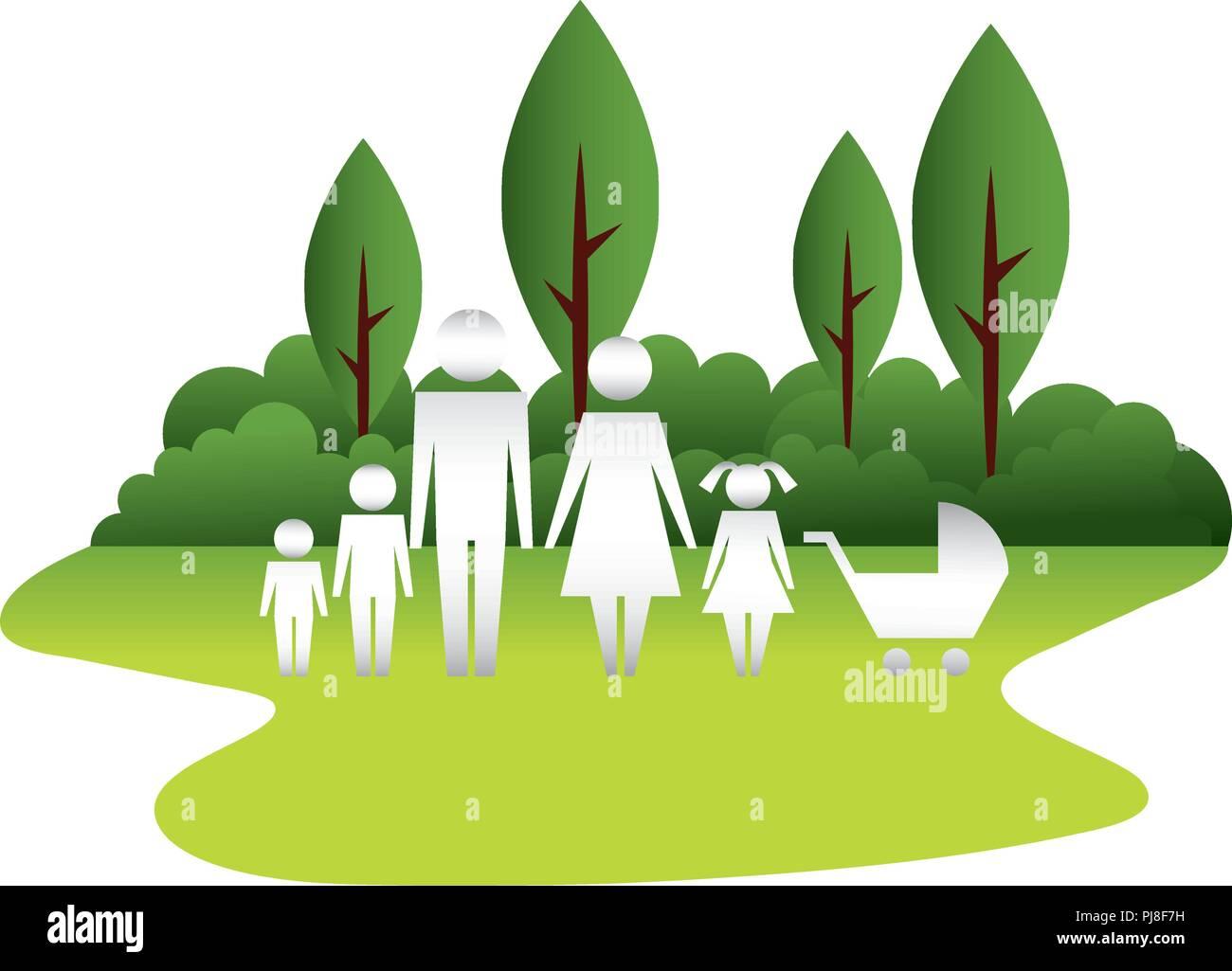 Silhouette de la famille et baby voir en mode paysage Illustration de Vecteur