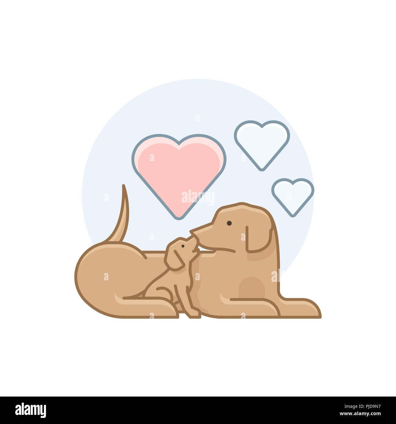 Illustration de chiens dans diverses activités Banque D'Images