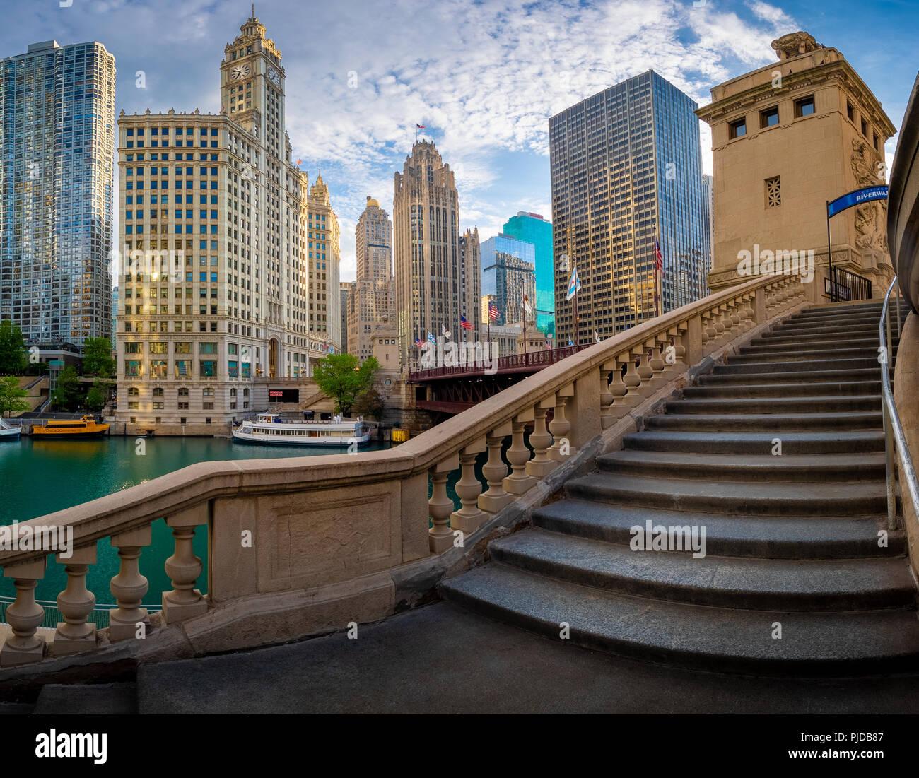 Chicago, une ville de l'Etat américain de l'Illinois, est la troisième ville la plus peuplée des États-Unis. Photo Stock