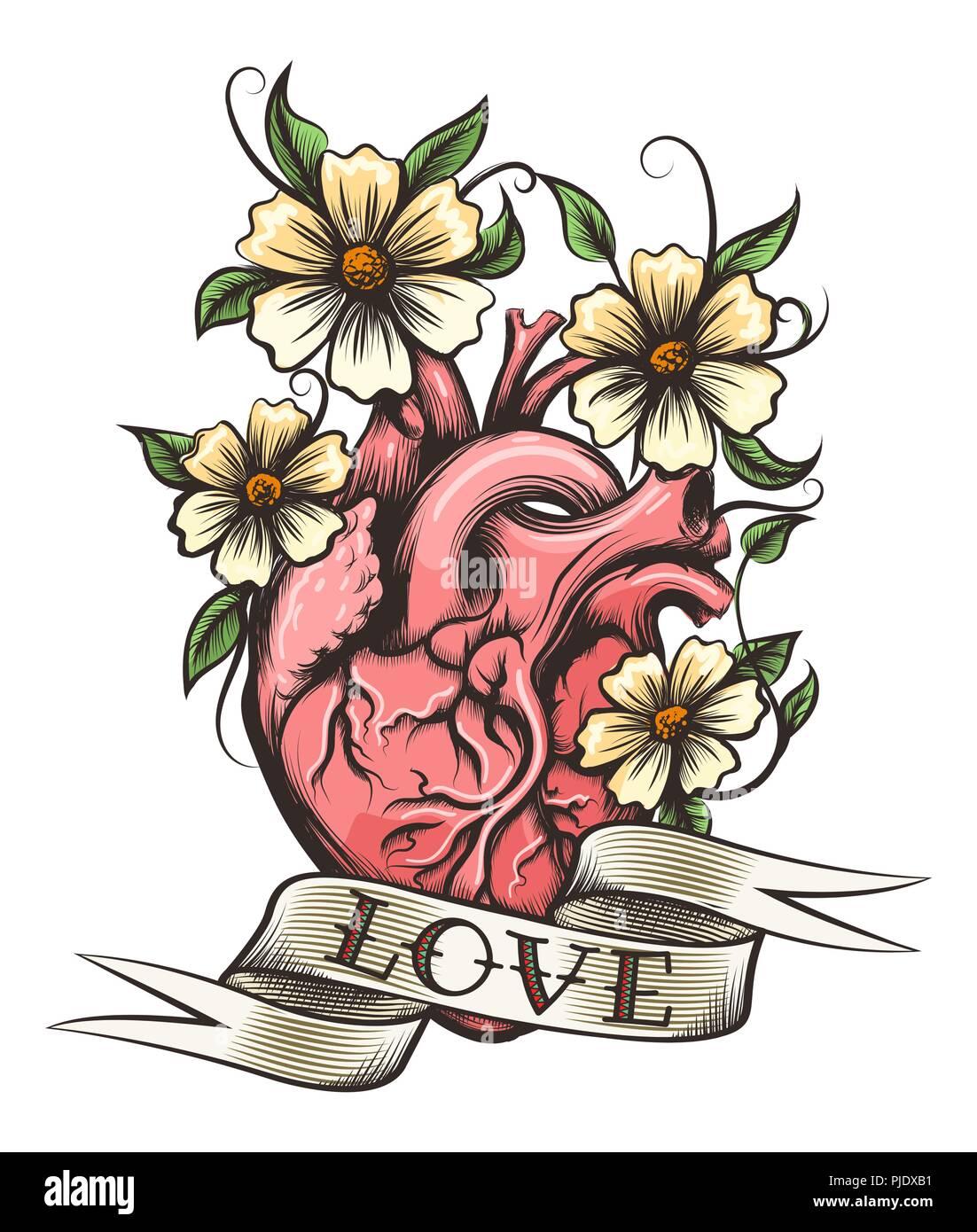 Coeur De L Homme Fleurs Et Ruban Avec Lettrage Dessine A La Main L
