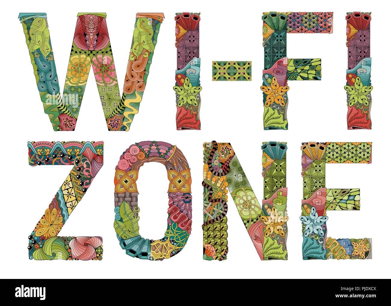 Mots WI-FI zone. Objet décoratif de scénario zentangle Photo Stock