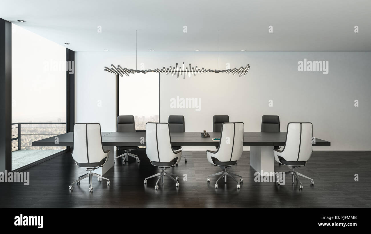 Grande salle moderne noir et blanc intérieur avec table de