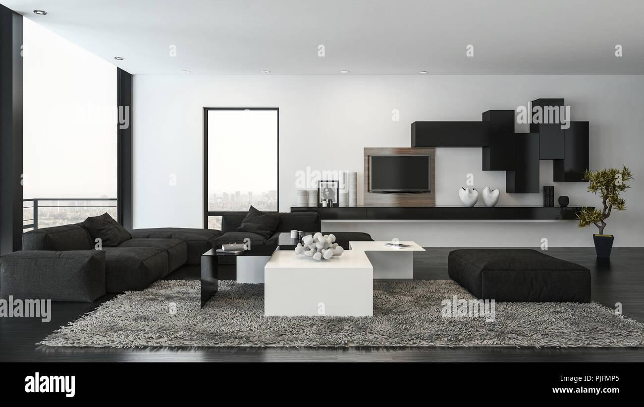 Salon avec canapé noir sur un tapis moelleux et étagères ...