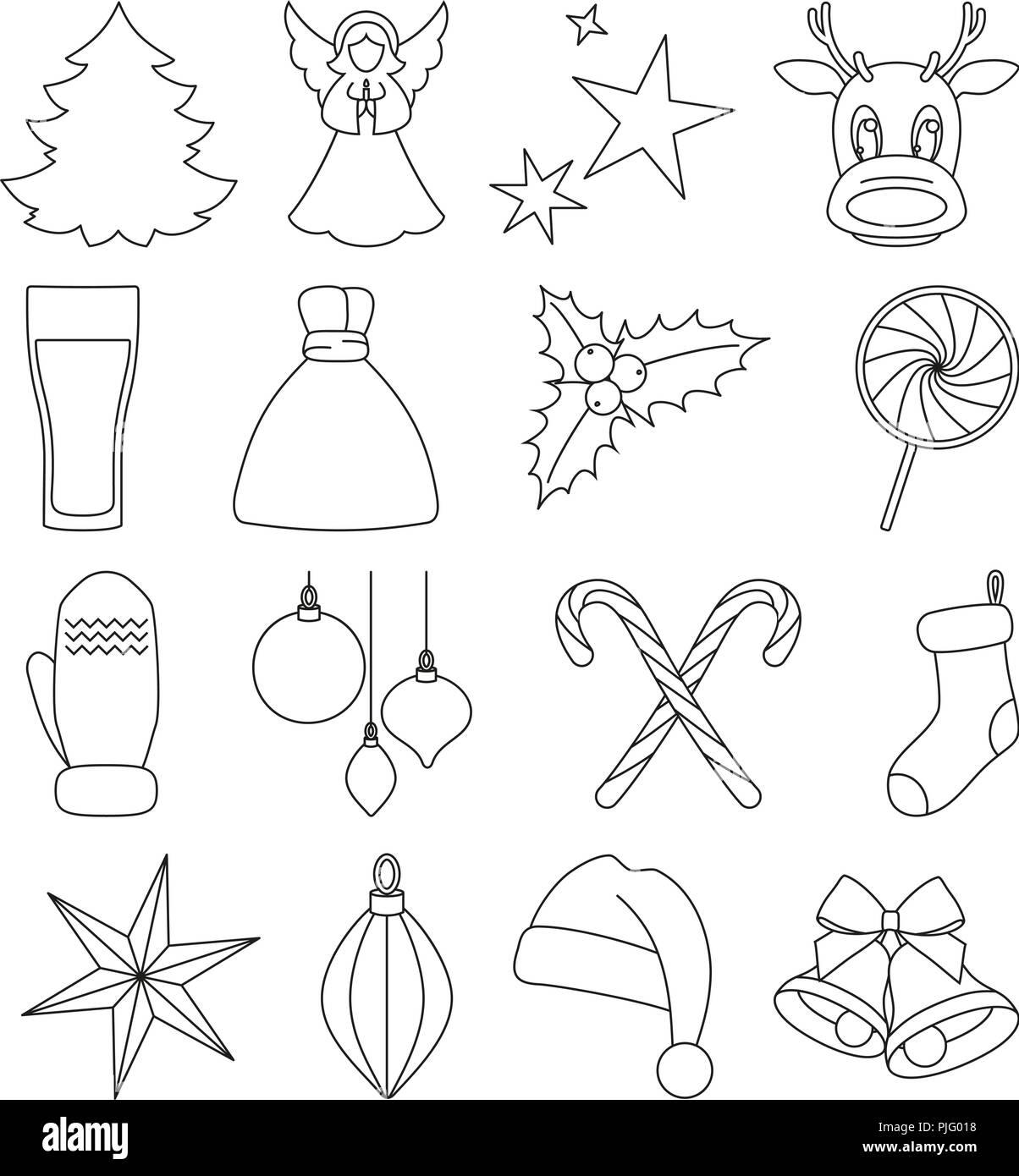 Les Dessins Au Trait Noir Et Blanc Des éléments De Noël