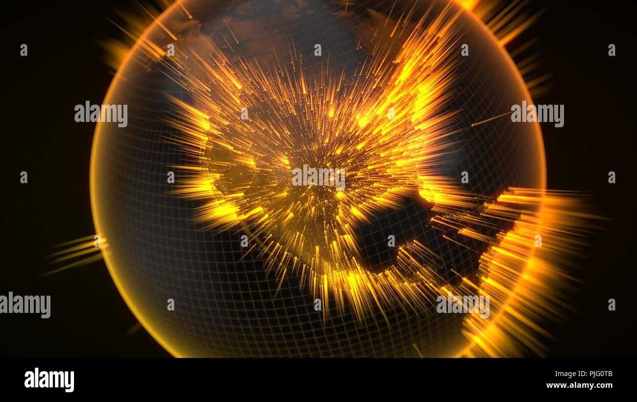 Dark Earth globe rougeoyant avec détails et les rayons lumineux. 3d illustration Photo Stock