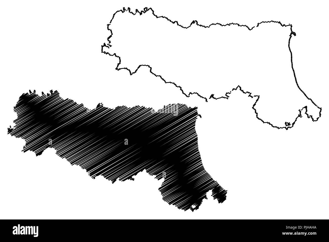 Carte Italie Emilia Romagna.Emilia Romagna Region Autonome De L Italie Map Vector