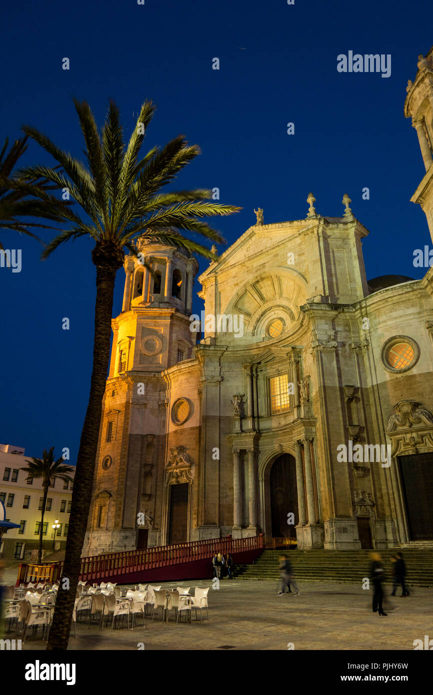 L'Espagne, Cadix, Plaza de la Catedral, La Cathédrale illuminée la nuit Banque D'Images