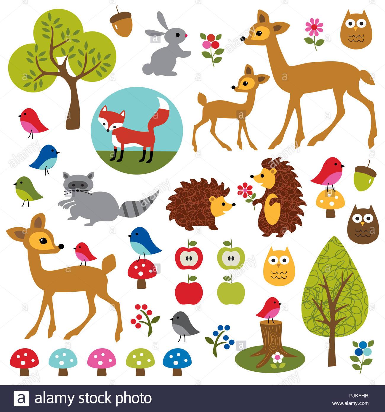 Animaux des bois illustrations vecteur mignon Photo Stock