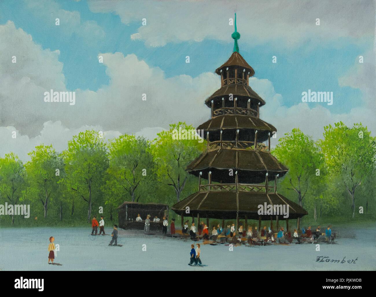 Peinture A L Huile La Tour Chinoise Avec Jardin A Biere Dans Le