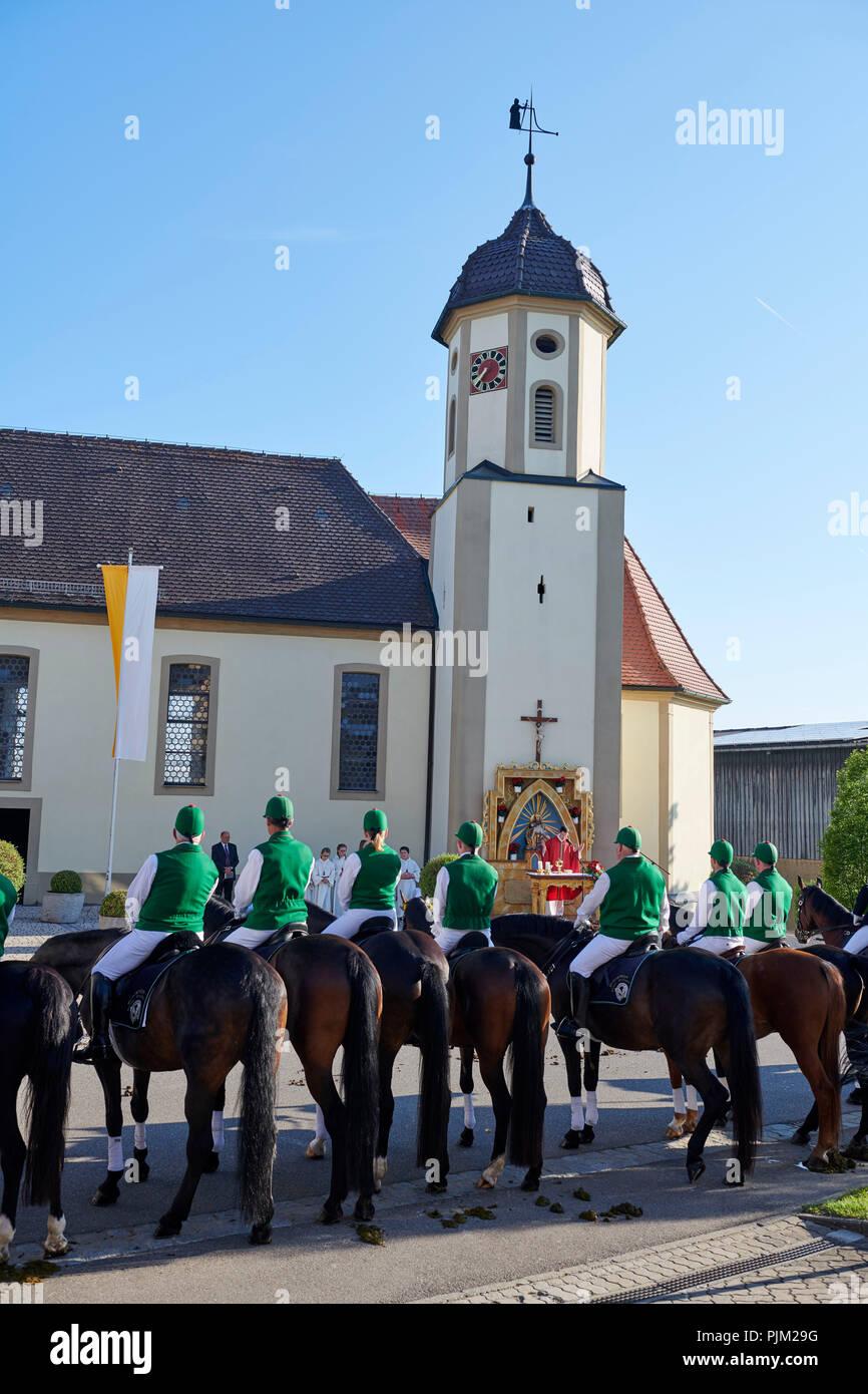 À Schwenningen Blutritt - une procession rider, avec la demande pour la santé des humains et des animaux. Photo Stock