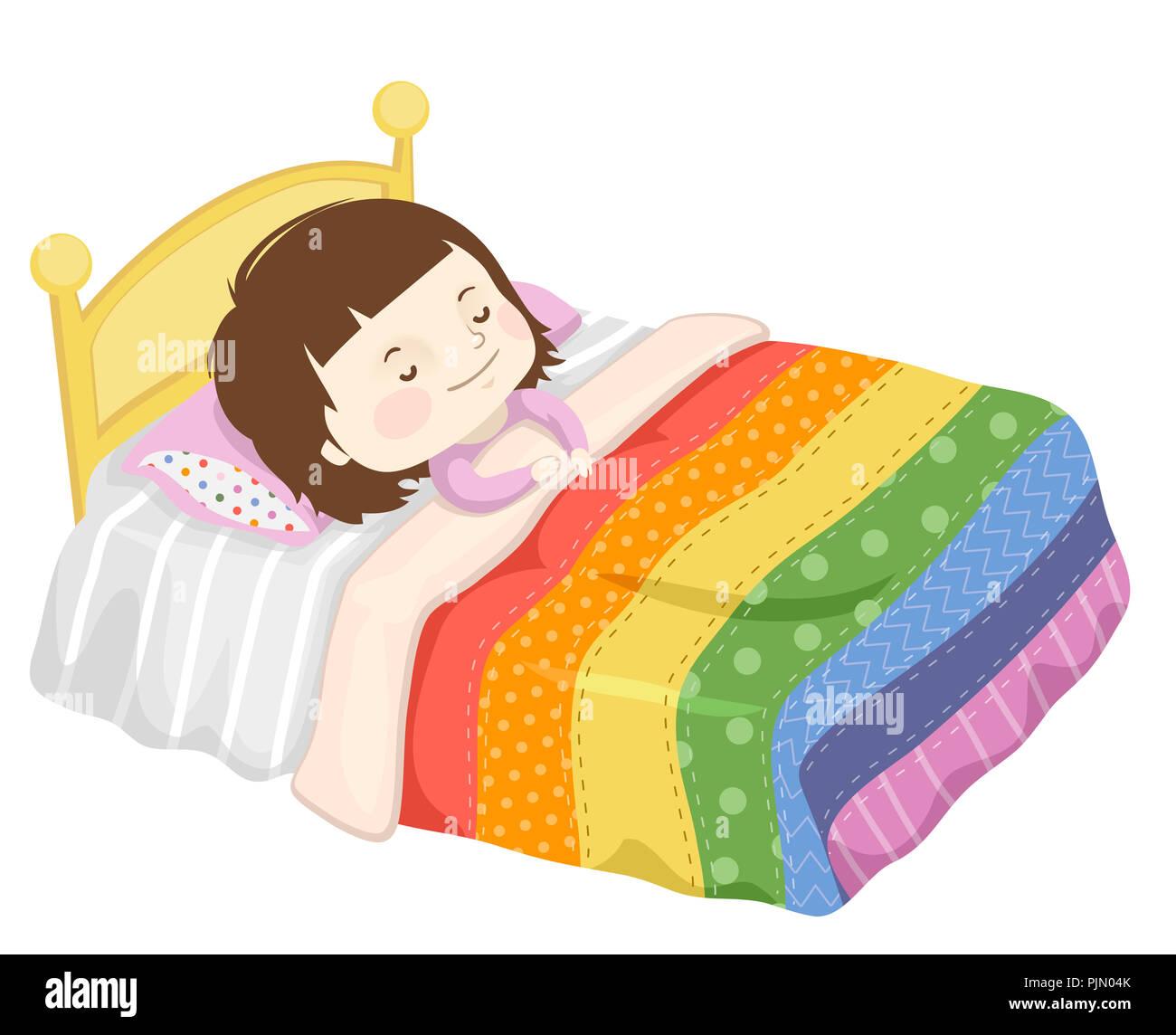illustration d 39 un enfant fille dormir sur son lit avec une. Black Bedroom Furniture Sets. Home Design Ideas