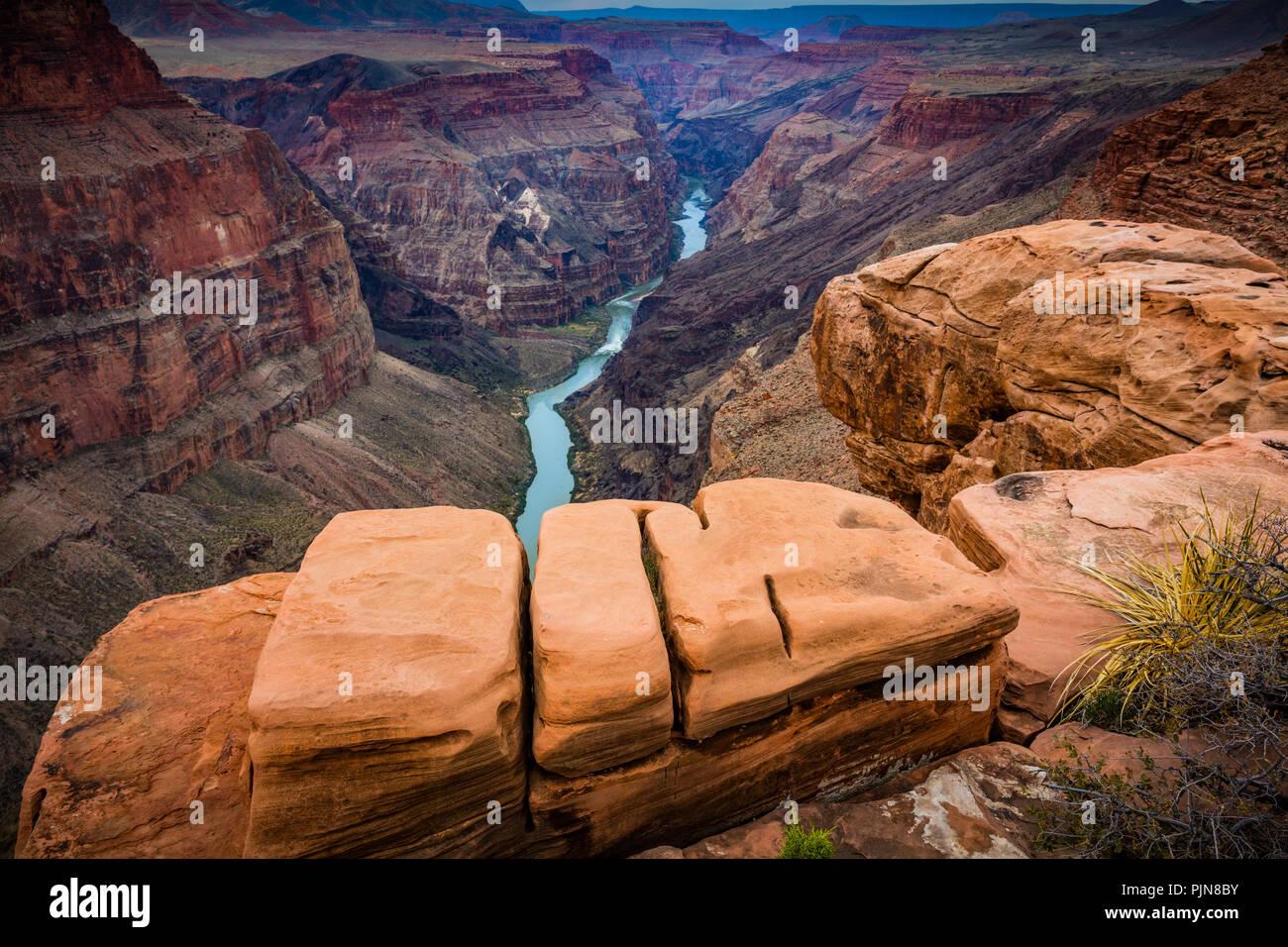 Grand Canyon de Toroweap Point. Le Grand Canyon est un canyon aux flancs abrupts sculptés par le fleuve Colorado dans l'état de l'Arizona. Photo Stock